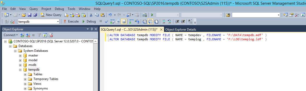 SQL: TempDB Dateien verschieben