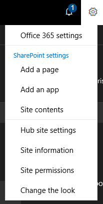 Hub site-Settings-Menu