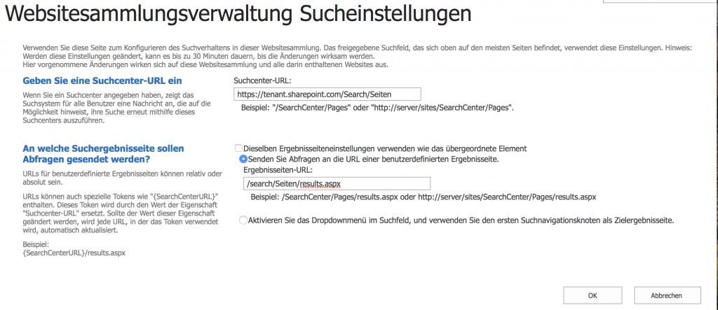 Sucheinstellugen Site Collection