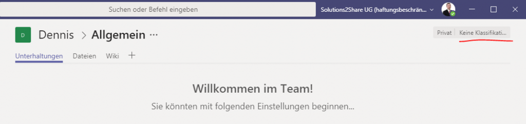 Teams Startseite