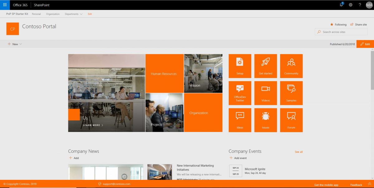 ModernUI Intranet mit PnP SharePoint Starter Kit
