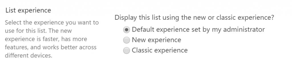 List Experience Einstellungen