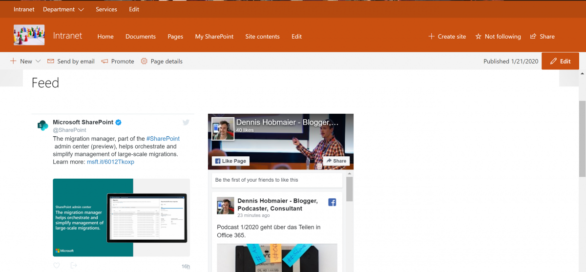 Social Feeds in SharePoint einbetten